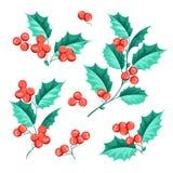 Christmas mistletoe holiday set Stock Images