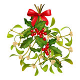 Christmas Mistletoe and Holly bouquet Royalty Free Stock Image