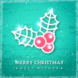 Christmas mistletoe icon on textured turquoise background. Royalty Free Stock Photography