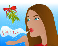 Christmas mistletoe kiss Stock Images