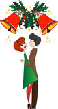 Christmas Mistletoe Kiss Stock Photo