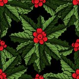 Christmas mistletoe pattern. Christmas mistletoe, holly berry with leaves seamless pattern. Hand drawn vector background. Botanical Xmas decor element. Great for Royalty Free Stock Photo