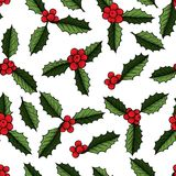 Christmas mistletoe plant. Christmas mistletoe, holly berry with leaves seamless pattern. Hand drawn vector background. Botanical Xmas decor element. Great for Royalty Free Stock Photos