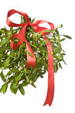 Christmas mistletoe with a red bow Royalty Free Stock Photography