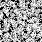 Christmas mistletoe seamless pattern. Black and white holly berries and leaves Christmas decoration. Boundless background can be used for web page backgrounds Stock Photography