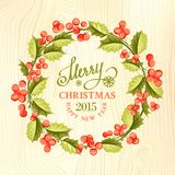 Christmas mistletoe wreath. Christmas mistletoe wreath over wood texture. Vector illustration Royalty Free Stock Images