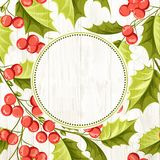 Christmas mistletoe wreath. Christmas mistletoe wreath over wooden background. Vector illustration stock illustration