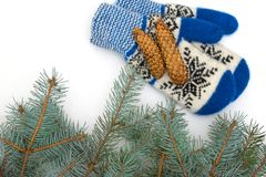 Christmas mittens are isolated on a white background stock photos