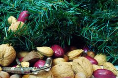 Christmas Mixed Nuts with Crackers Royalty Free Stock Photos