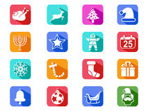 Christmas mobile long shadow icons set Royalty Free Stock Images
