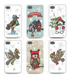 Christmas.Mobile phone cover  back set.Winter bird Royalty Free Stock Images