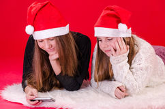 Christmas mobile surfing Stock Images