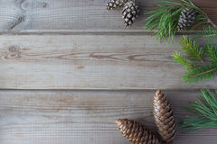 Christmas mock up with Christmastree branches. Christmas mock up with cones and Christmastree branches Stock Photos
