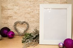Christmas mock up, violet and siler Christmas decoration. FIr br royalty free stock images