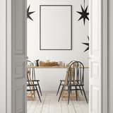 Christmas mockup with a poster on the background of a dinner table.3D rendering royalty free illustration