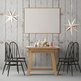 Christmas mockup with a poster on the background of a dinner table.3D rendering Stock Photography