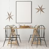 Christmas mockup with a poster on the background of a dinner table.3D rendering. Christmas mockup with a poster on the background of a dinner table Royalty Free Stock Photo
