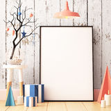 Christmas Mockup Poster In The Interior. Royalty Free Stock Photo