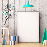 Christmas Mockup Poster In The Interior. Royalty Free Stock Photos