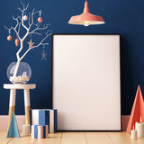 Christmas Mockup Poster In The Interior. Royalty Free Stock Photography