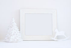 Christmas mockup styled stock photography with white frame Stock Photo