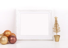 Christmas mockup styled stock photography with white frame Royalty Free Stock Image