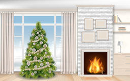 Christmas modern Interior with fireplace and fir tree. Modern christmas Interior with fireplace and fir tree. Winter landscape outside the window on the street Royalty Free Stock Image