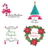 Christmas modern logos set. Vector set of hand drawn watercolor labels and logos. Christmas and New Year collection of design elements Stock Photo