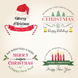 Christmas modern logos set. Vector set of hand drawn watercolor labels and logos. Christmas and New Year collection of design elements Royalty Free Stock Image
