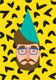Christmas modern style hipster gnome. Santa Claus`s helper in cap and glasses with a beard and glasses. royalty free illustration