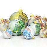 Christmas money. Christmas balls with money texture Royalty Free Stock Image