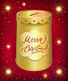 Christmas moneybox tin can. Template isolated on red joy background Royalty Free Stock Image