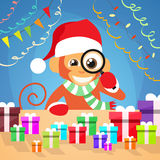 Christmas Monkey Choose Gift Box on Desk New Year. Present Concept Santa Clause Hat Magnifying Glass Concept Flat Vector Illustration Royalty Free Stock Photography