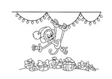 Christmas monkey and garland Stock Photography