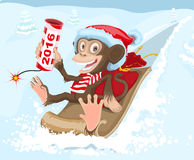 Christmas monkey riding on a sled and keeps petard 2016 Royalty Free Stock Photo