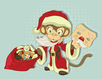 Christmas Monkey Santa with bag of gifts. Monkey symbol 2016 Stock Photography