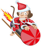 Christmas Monkey Santa flying on firework rocket. Monkey symbol 2016 on Chinese calendar Stock Image