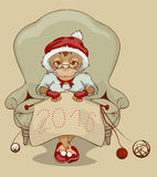 Christmas Monkey Santa is sitting in chair, knitting neckerchief 2016 Royalty Free Stock Photos