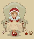Christmas Monkey Santa is sitting in chair, knitting neckerchief 2016 Royalty Free Stock Photos