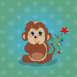 Christmas Monkey. Under the Christmas tree Royalty Free Stock Photo
