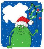Christmas monster. Green Christmas monster with fur-tree Royalty Free Stock Photos