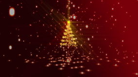 Christmas montage with red and gold introduction. Christmas montage with red and gold tree and greeting introduction stock video footage
