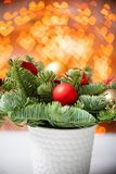 Christmas mood. Beautiful festive arrangement of fresh spruce in a rustic wooden box. Bokeh hearts of Garland lights on. Background stock photos
