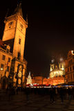 Christmas Mood on the colorful night Old Town Square, Prague, Czech Republic Royalty Free Stock Photos