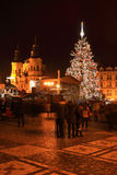 Christmas Mood on the colorful night Old Town Square, Prague, Czech Republic Stock Photos