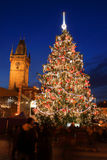 Christmas Mood on the colorful night Old Town Square, Prague, Czech Republic Stock Image