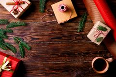 Christmas mood concept. Festive background for winter holidays royalty free stock photography