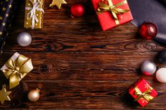 Christmas mood concept. Festive background for winter holidays royalty free stock image