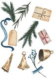 Gifts, bells, branches and blue ribbon onthe white background. vector illustration