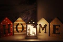 Christmas mood at home with lights. Christmas mood at home during holidays with reindeer lights and home sign stock image